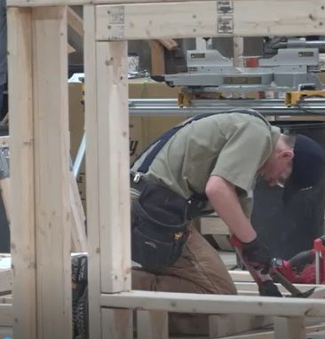 carpentry student working